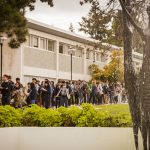 Students gather for lunch behind the Transcendance fountain in front of Thea Koerner House. Credit: Efe Peker